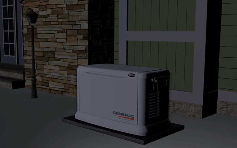 Utility power is lost. Generac installed by Robies